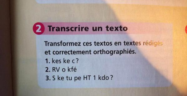Livre de français sms